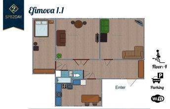 Apartment on Efimova 1-1